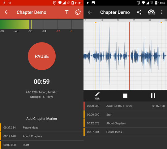 Adding chapter marks in the Auphonic audio recorder app