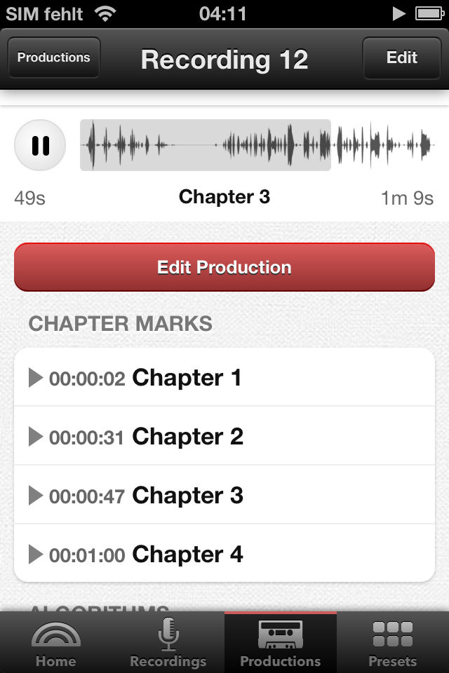 Editing chapter marks in the Auphonic audio recorder app