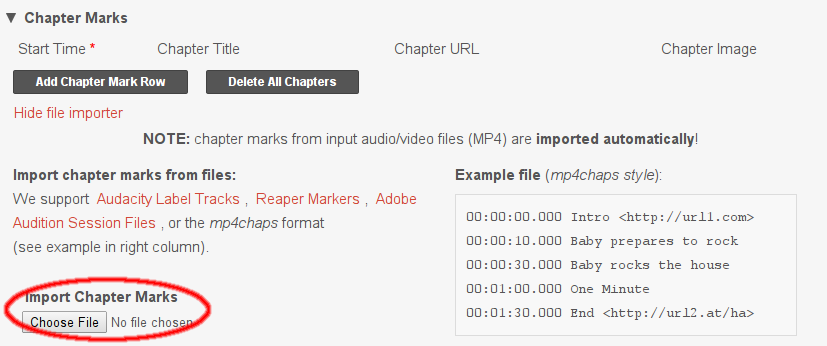 Importing chapter marks to Auphonic