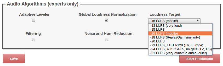 Loudness target in Auphonic productions